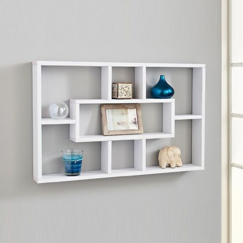 Compartment Wall Display Shelf Unit 76cm - White
